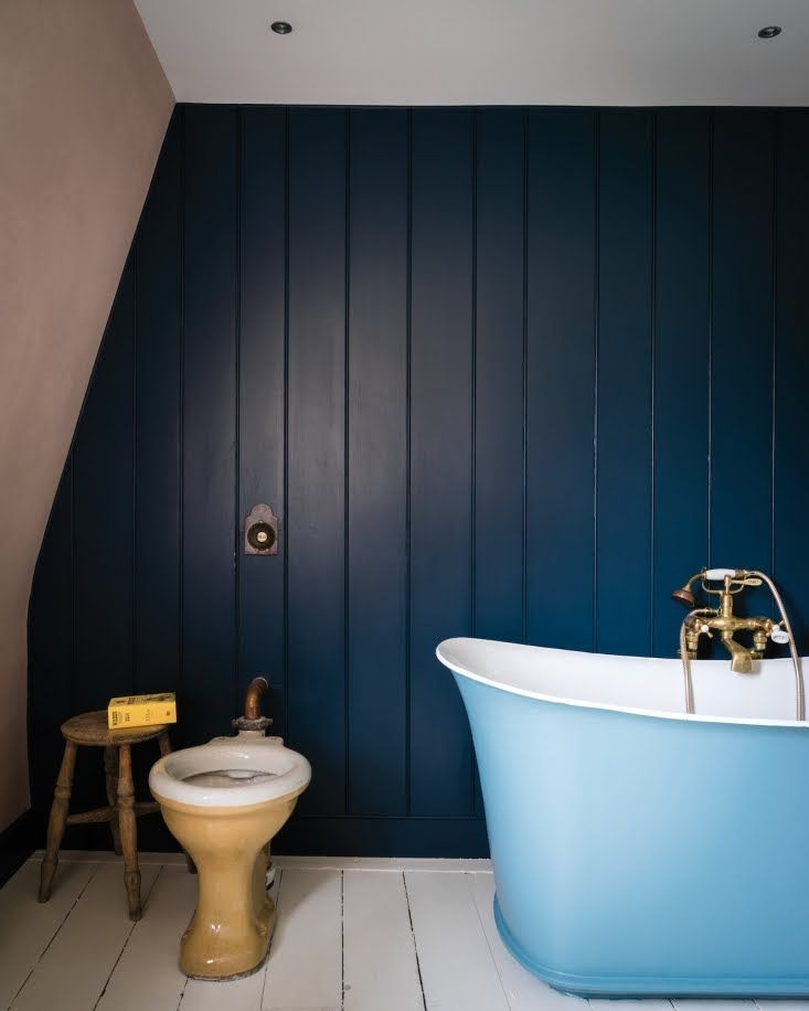 Farrow Ball Book How To Decorate Bathroom With Pink And Navy Blue Paint Yellow Bathroom Decor Blue Bathroom Farrow Ball