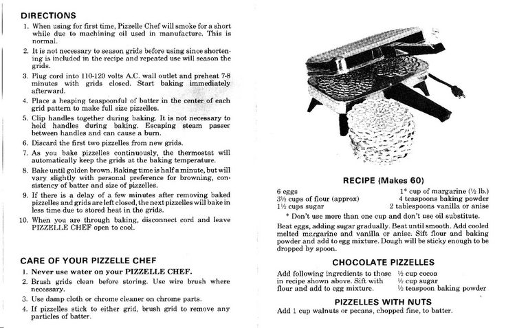 pizzelle recipes...This is the same one from Aunt Rosie
