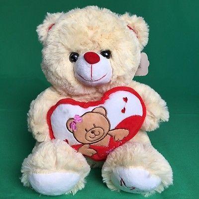 """#TeddyBears #Teddy #Bears NEW Pan Pan Teddy Bear 10"""" Plush Toy Brown Animal Love Me Heart Valentines 1J71 #TeddyBears #Teddy #Bears"""