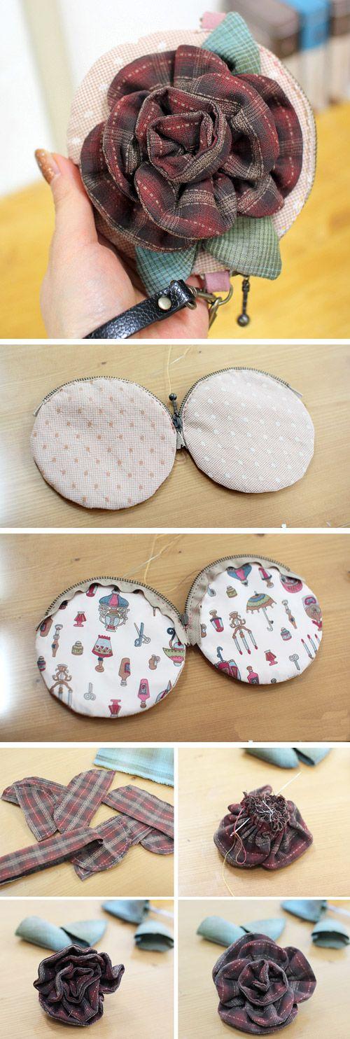 Simple handbag: flower appliqué tutorial. DIY tutorial in pictures. http://www.handmadiya.com/2015/10/flower-bag-idea-sewing.html
