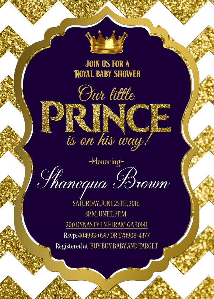 Royal Baby shower invitation Royal prince Gold