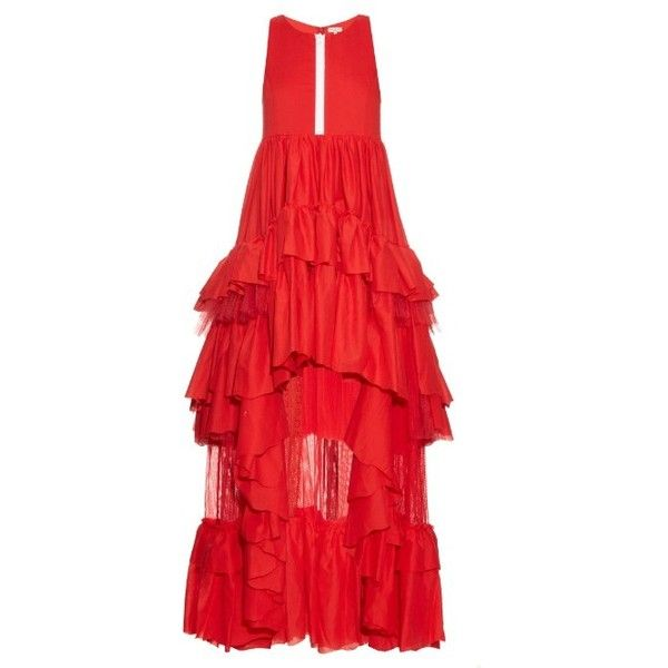 Natasha Zinko Ruffled cotton dress (9,610 CNY) ❤ liked on Polyvore featuring dresses, red, going out dresses, red sheer dress, night out dresses, hi low dress and sheer dress