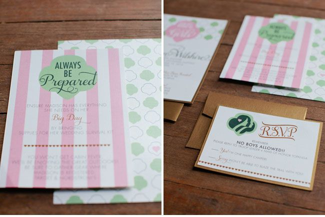 Girl Scout inspired bridal shower; I love this idea!