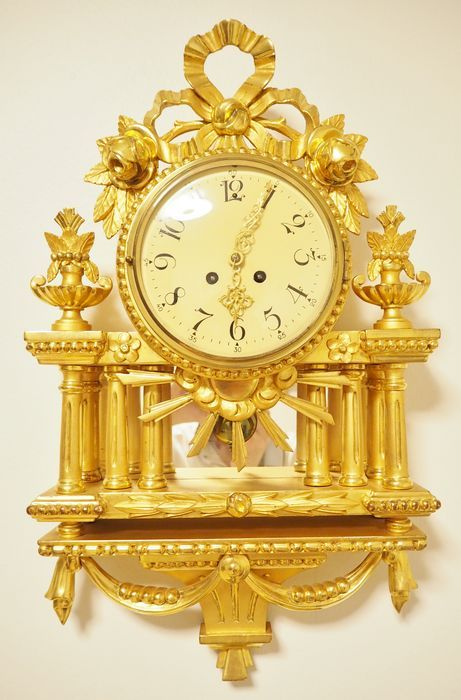 Currently at the #Catawiki auctions: Swedish hand carved giltwood Gustavian style Cartel wall clock with clockwork...