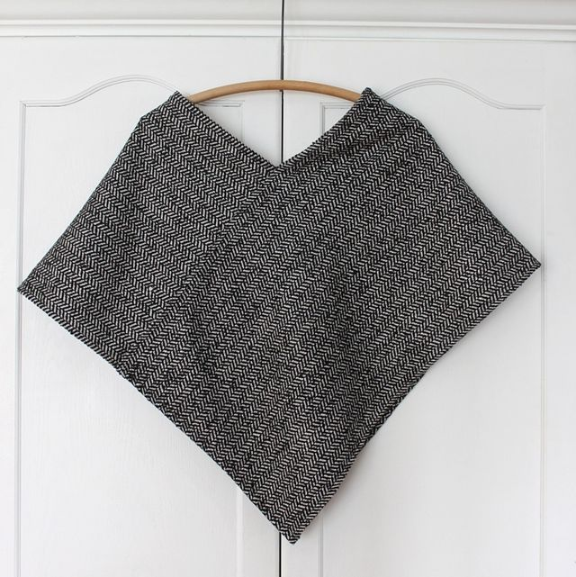 easy -you only have to sew straight lines.  http://smileandwave.typepad.com/blog/2012/11/poncho-diy.html#