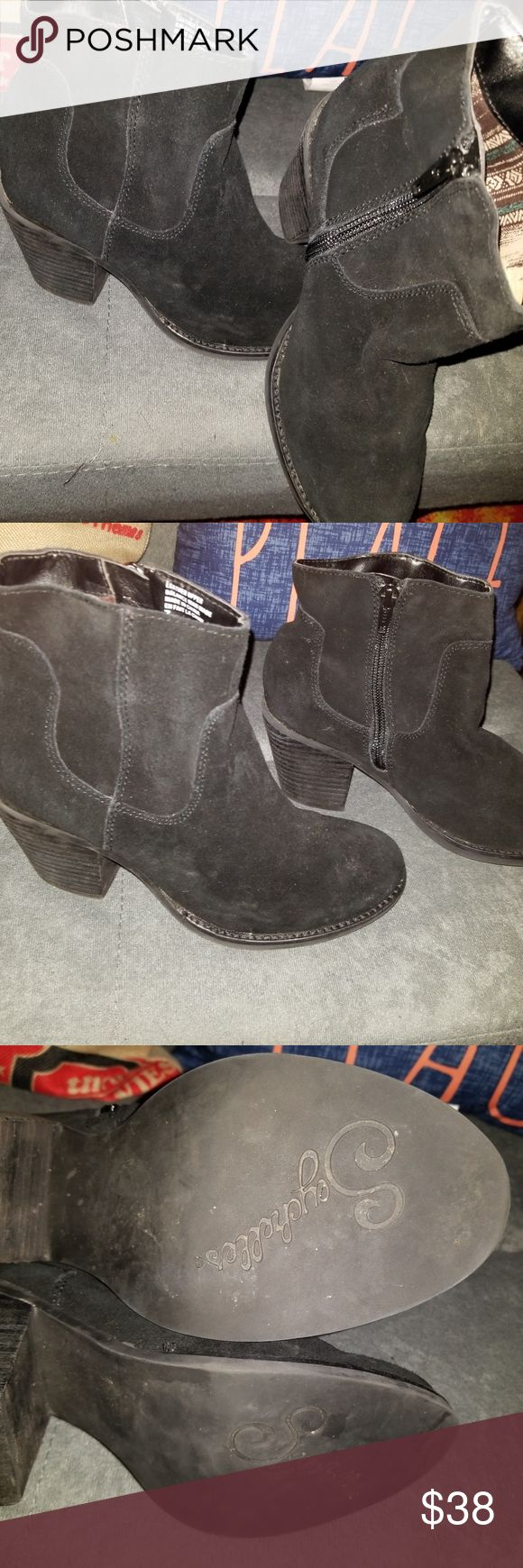 New Seychelles Suede black ankle boots size 7 2.5 heel  light weight  Seychelles's the designer  black suede  side zip  BRAND NEW NEVER WORN Seychelles Boots Shoes