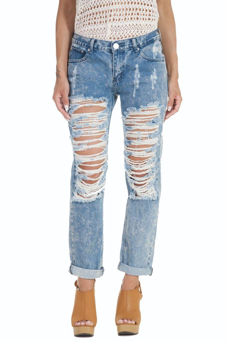 Jeans Boyfriend  Μπλε απαλό με σχισίματα γυναικείο glamorous