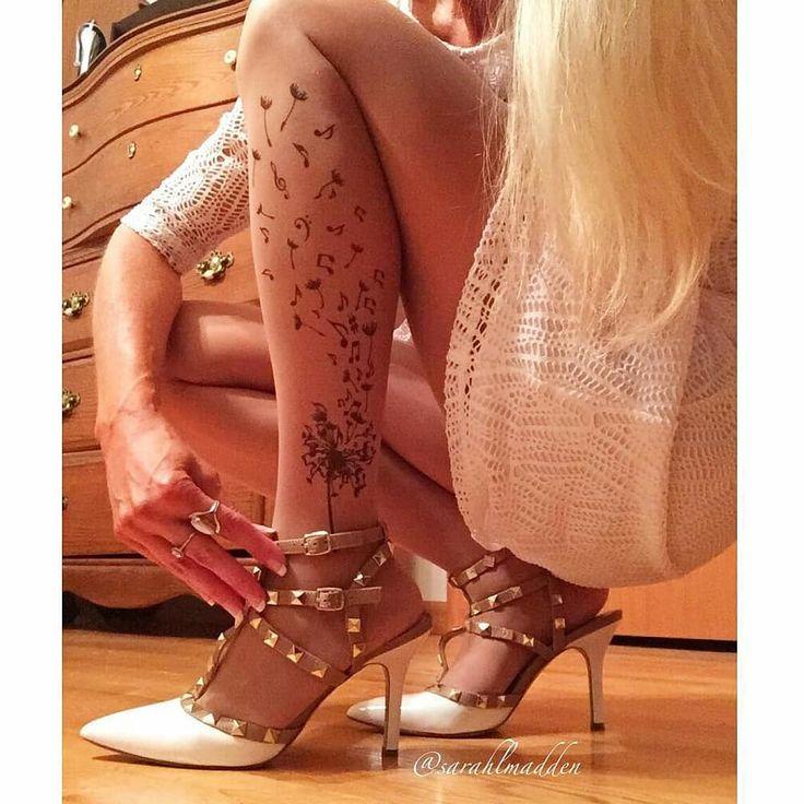 Musical Dandelion tattoo tights by @stopandstareco ! They are designed and hand printed in Ireland.- from @sarahlmadden #stopandstarelegs #tattoo #ink #tattooidea #tattoodesign #tattooleg #tattoolegs #legtattoo #faketattoo #temptattoo #temporarytattoo #tattosticker #tattooflash #tattootights #tattonylons #tattoopantyhose #dandelion #dandeliontattoo #musicnotes #musicnotestattoo #handmade #madeinireland #irishdesign #irishbrand