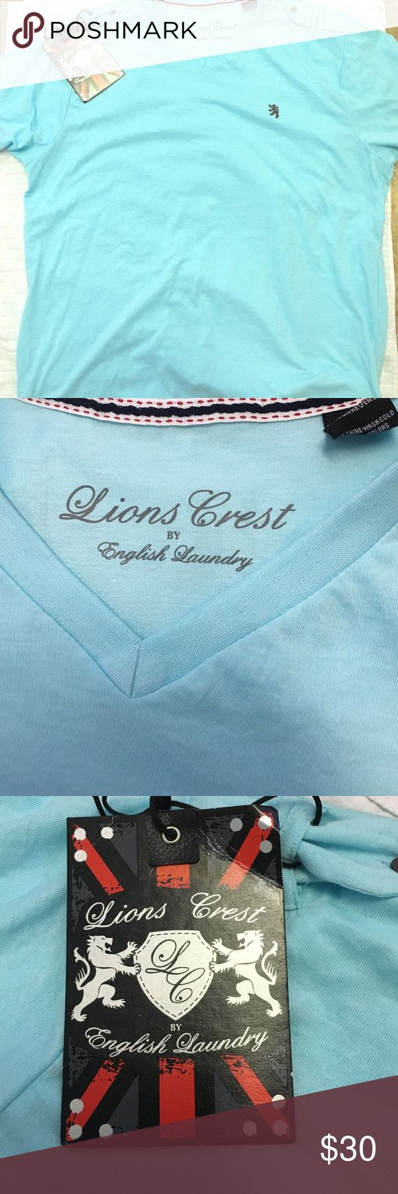 Lions crest light blue shirt NWT light blue v neck shirt English Laundry Shirts Tees - Short Sleeve