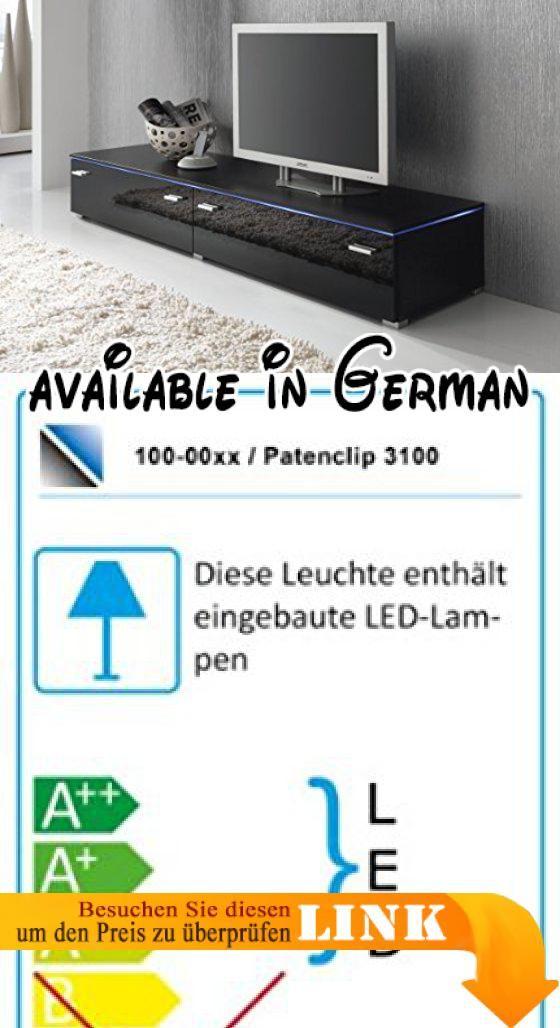 B00EQ2T7SE  Lowboard TV Schrank TV-Element 180 cm schwarz Fronten - leuchten wohnzimmer landhausstil