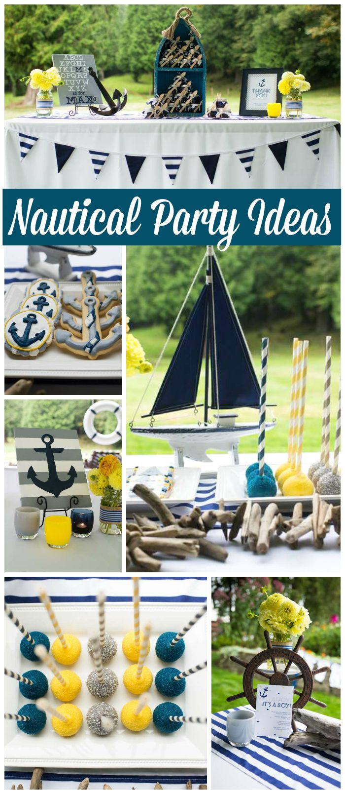 Love this nautical baby shower in navy blue, yellow and gray! See more party ideas at CatchMyParty.com!
