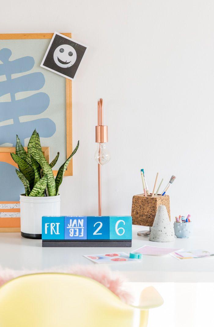Modernize Your Boring Desk with this DIY Giant Wood Block Calendar » Curbly   DIY Design & Decor