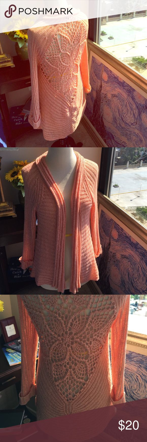 Coral cardigan, very fun for beach or casual wear Lovely coral cardigan great for beach or as a cardigan Sweaters Cardigans