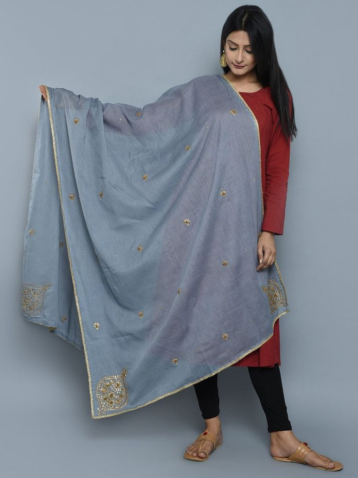 Grey Cotton Mul Zardosi Embroidered Dupatta