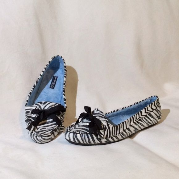 Sparkly zebra print Sperry slippers NWOT. Sperry Top-Sider loafer style slippers. Soft Blue material inside. Black bow. Clear sequins over black and white zebra print.  These have a firm non marking sole and could be worn as shoes. Sperry Top-Sider Shoes Slippers