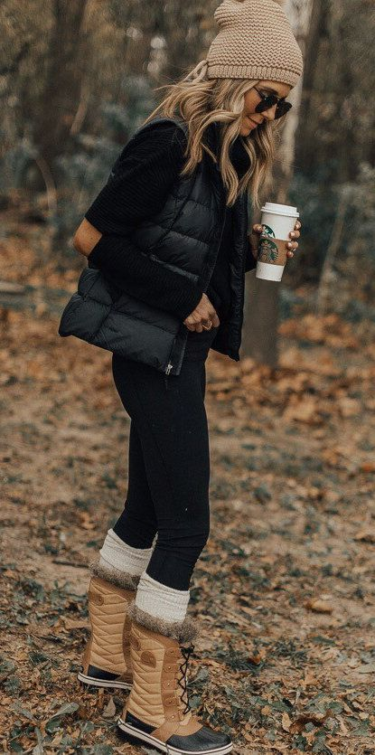 #winter #outfits black zip vest