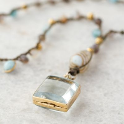 Labradorite Locket Necklace in Spa+Accessories JEWELRY Necklaces at Terrain