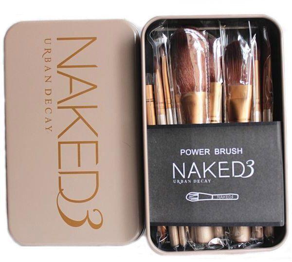 12 pcs Professional Nake 3 Cosmetic makeup brush set