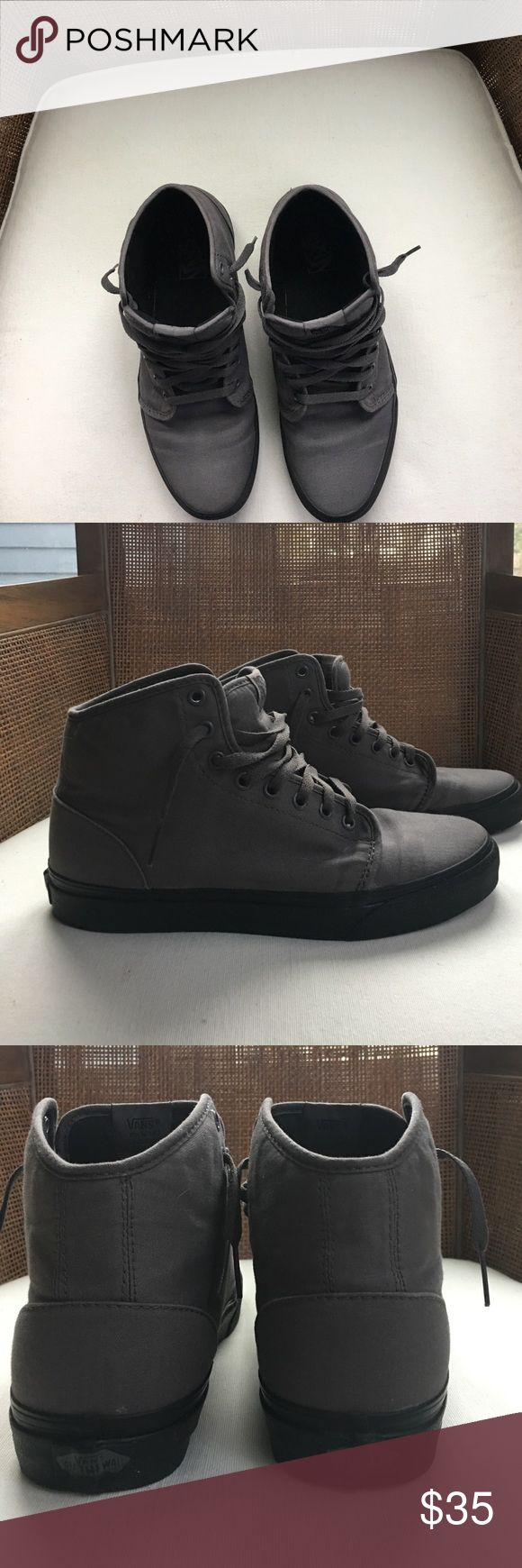 EUC Men's Vans hi top skate shoes Worn less then 5 times.  Vans are the number 1 skate shoe in the world and super comfortable. These high tops are dark grey canvas uppers with black out soles. Size 9.5 men's and 11 in women's Vans Shoes Sneakers