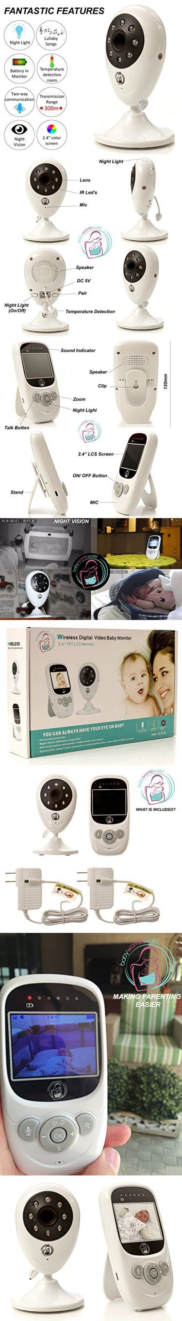 Video baby monitor - Wireless surveillance camera with night vision for remote monitoring of your infant.