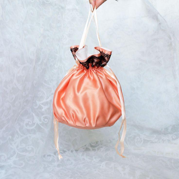 Pompadour purse evening handbag wristlet drawstring reticule peach black satin by AlicesLittleRabbit on Etsy