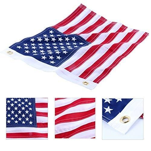 Amarine-made12x18 Inch Yacht Boat Ensign Nautical US American Flag With Sewn Stripes and Embroidered Stars -45CM(18Inch)30CM12InchFor Boat yacht Workplace Home Business & Outdoor Use
