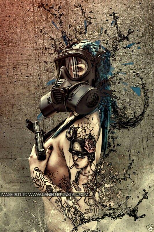 Frauen in sexy Gasmasken