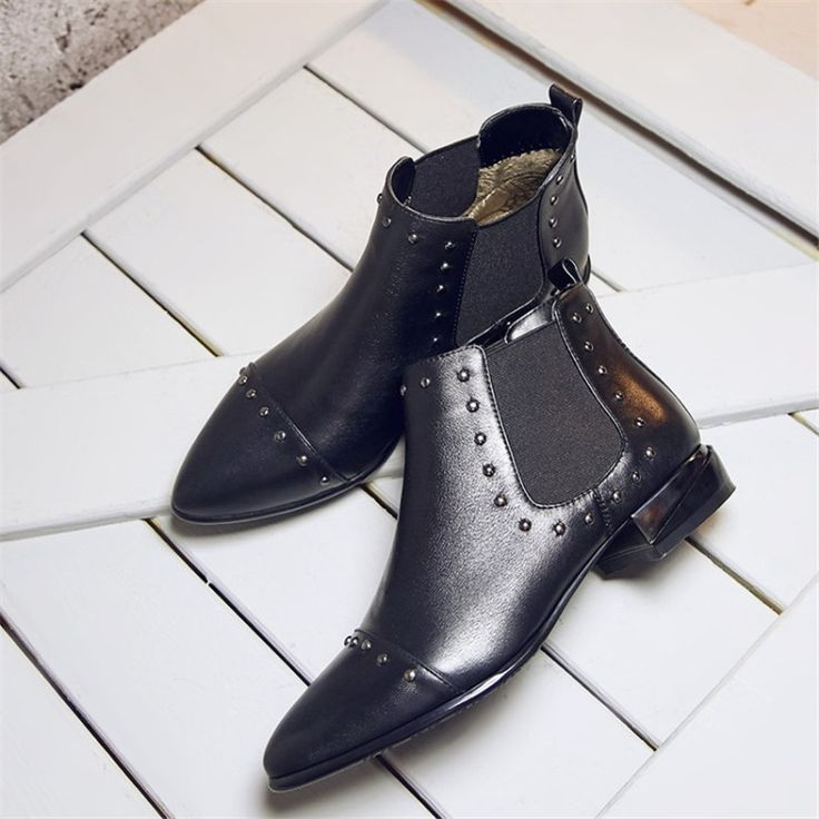 Autumn Winter Women Fashion Star Rivets Ankle Boots Flat Short Booties Genuine Leather Martin Mujer Botas Militares Size 34-43 #Affiliate