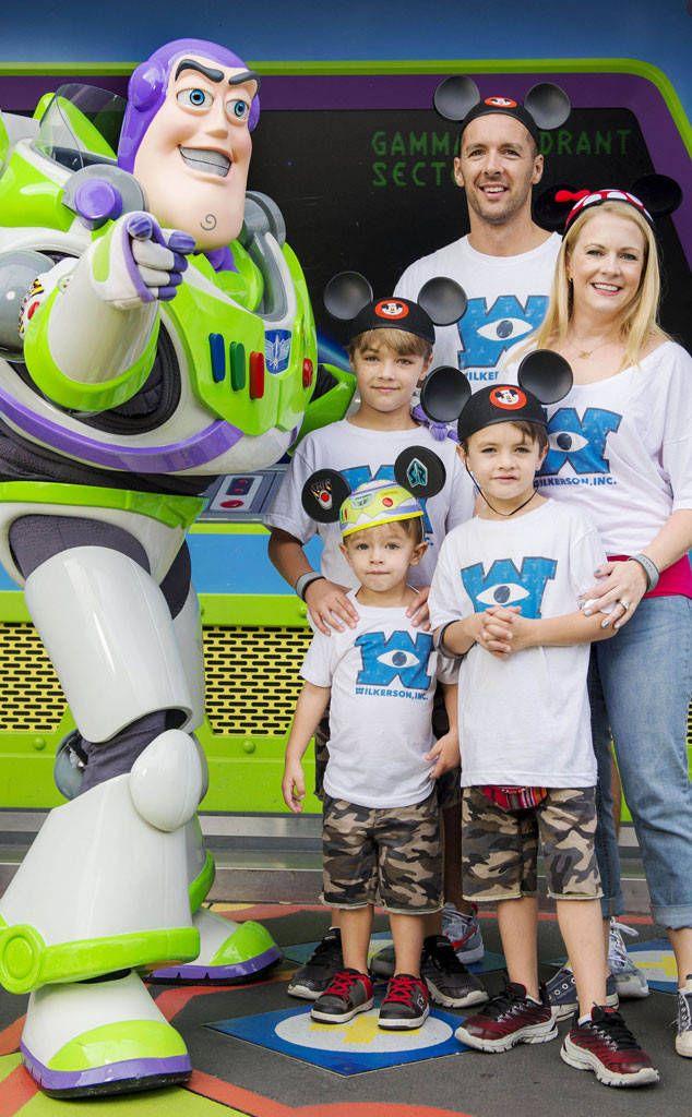 MARK WILKERSON, MELISSA JOAN HART, MASON, TUCKER & BRAYDON - Wearing custom Disney Monsters Inc T-Shirts and Mickey Mouse Club ear hats - Walt Disney World - Magic Kingdom in Orlando
