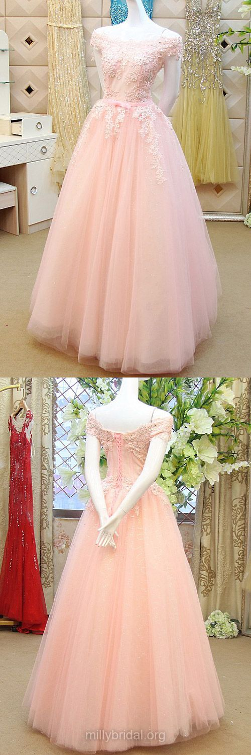 Best Pink Prom Dresses,Princess Off-the-shoulder Formal Evening Gowns,Tulle Appliques Lace Girls Party Dresses