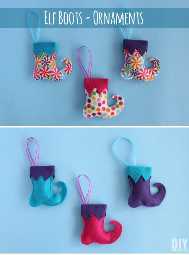 Elf Boots Felt Ornaments. These super fun DIY Christmas ornaments are a great family craft to do for the Holidays. Such a great Xmas project idea! Click through to learn how to make some too with a great step by step tutorial! http://thediydreamer.com