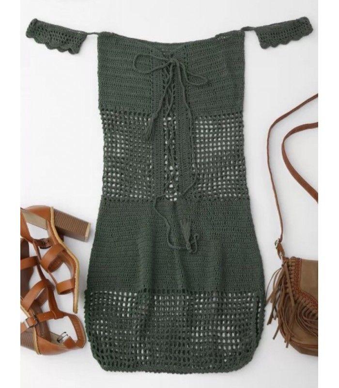 Vestido  de crochet beach coverup con mangas cortas, una mini longitud, un encaje en la parte delantera y un ajuste bodycon.