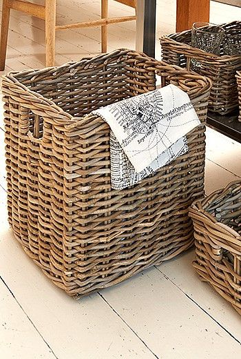 Excellent value chunky woven wicker baskets available three sizes.