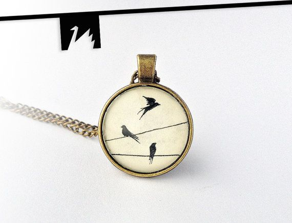 Original drawing under glass swallows pendant by TotemSwan on Etsy