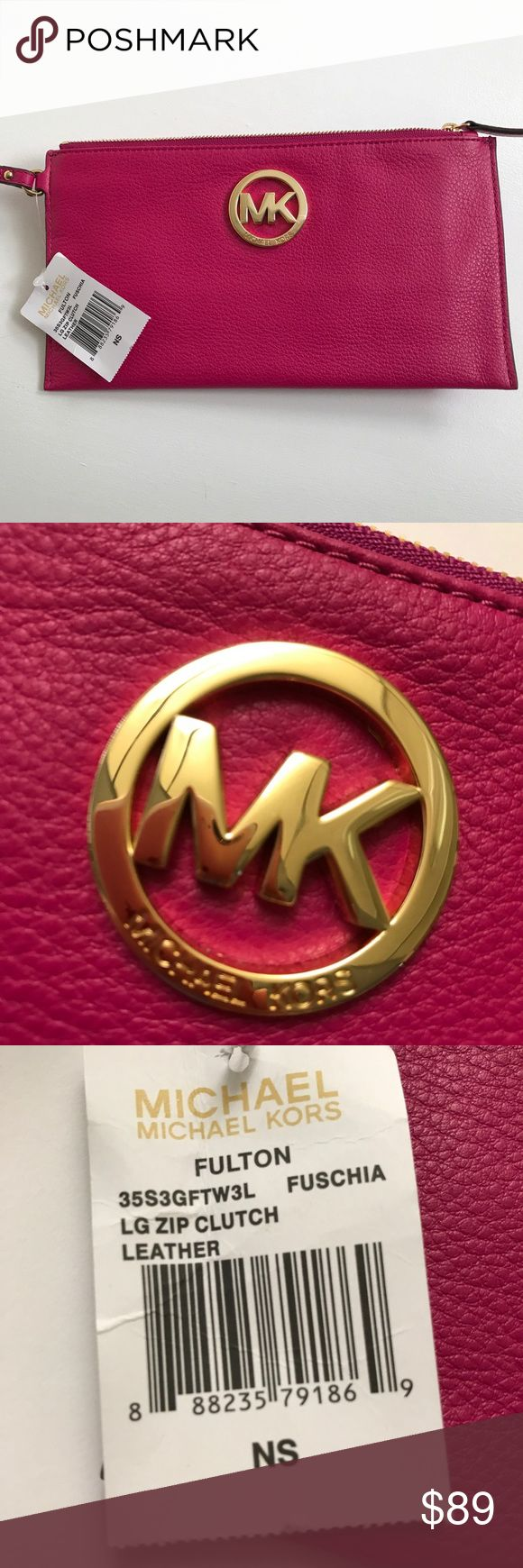 🆕 MK Fulton Leather Wristlet Clutch Authentic Michael Kors large clutch/wristlet.  Six cc slots, inside pocket.  Beautiful soft pebble leather in bright fuchsia! Michael Kors Bags Clutches & Wristlets