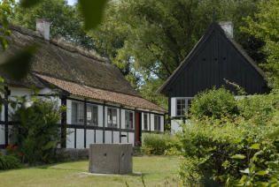 Græsplæne og staudebede ved gården fra Bornholm