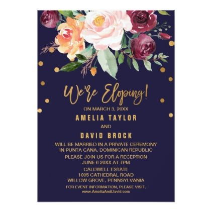 #Autumn Floral Elopement Reception Card - #weddinginvitations #wedding #invitations #party #card #cards #invitation #floral