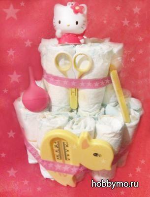 Как сделать торт из памперсов (подгузников) для девочки своими руками