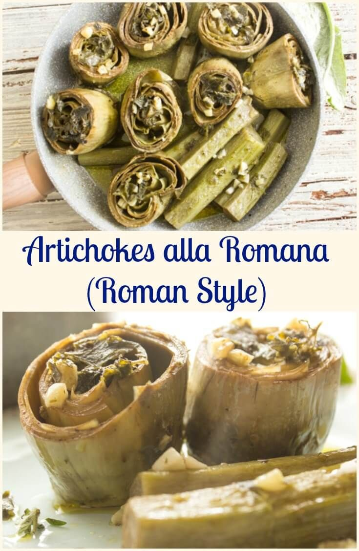 Artichokes Alla Romana (Roman Style), the most delicious way to eat artichokes.  Sautéed in olive oil, with fresh mint, garlic and oregano so deliciously tasty.  I bet you can't eat just one! #artichokes #vegetables #Italianrecipe via @https://it.pinterest.com/Italianinkitchn/