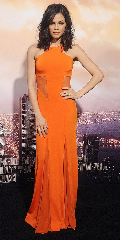 Jenna Dewan-Tatum orange dress with sheer panels