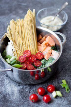 One-Pot-Pasta mit Lachs