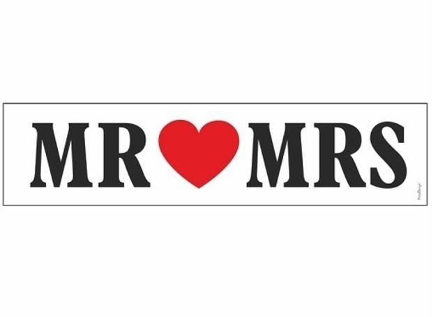 """Autodeko Nummern-Schild """"Mr & Mrs"""" Hochzeit"""