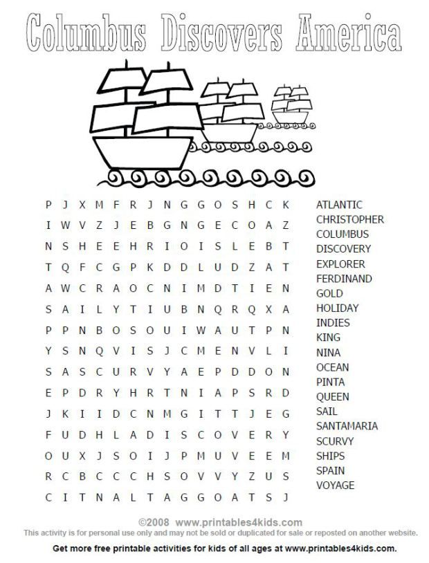 Columbus Day Wordsearch : Printables for Kids – free word search ...