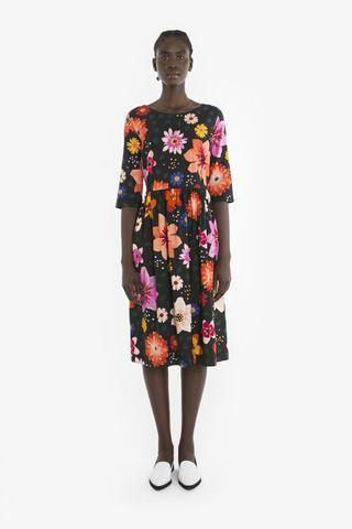 LOIS DRESS from Obus Spring17 | A bright black and multicolour floral print dress, with long sleeves and a zip at the back
