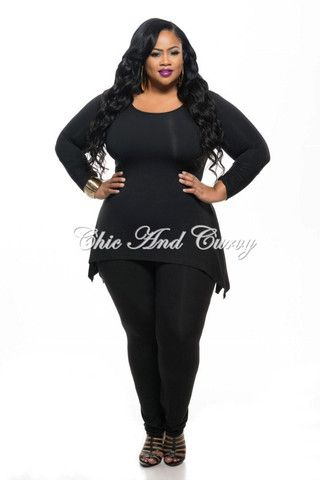 New Plus Size 2-Piece Crop Top and Pant Set with White Side Stripe in Black