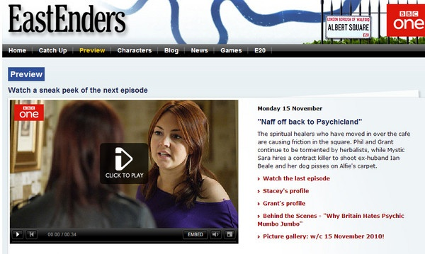 "Eastenders episode - ""Naff off Back to Psychicland"""
