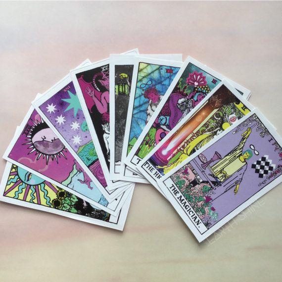 Tarot card stickers Moon Sun Star Lovers Empress Devil