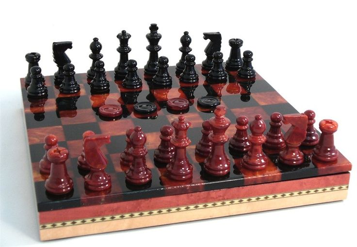 "Beauty beyond visual! Alabaster chess & checkers in 13.5"" x 13.5"" x 2"" Inlaid Wood Storage Chest basic board – Black & Red chessmen with 3"" King, 1.5"" squares, 1.13"" king base width. #alabasterchesssets #luxurychesssets"