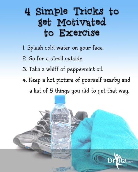 Use these 4 Simple Tricks to get Motivated to Exercise: http://www.drvita.com/blog/the-nutrition-twins-four-simple-tricks-to-get-motivated-to-exercise/ #health #fitness