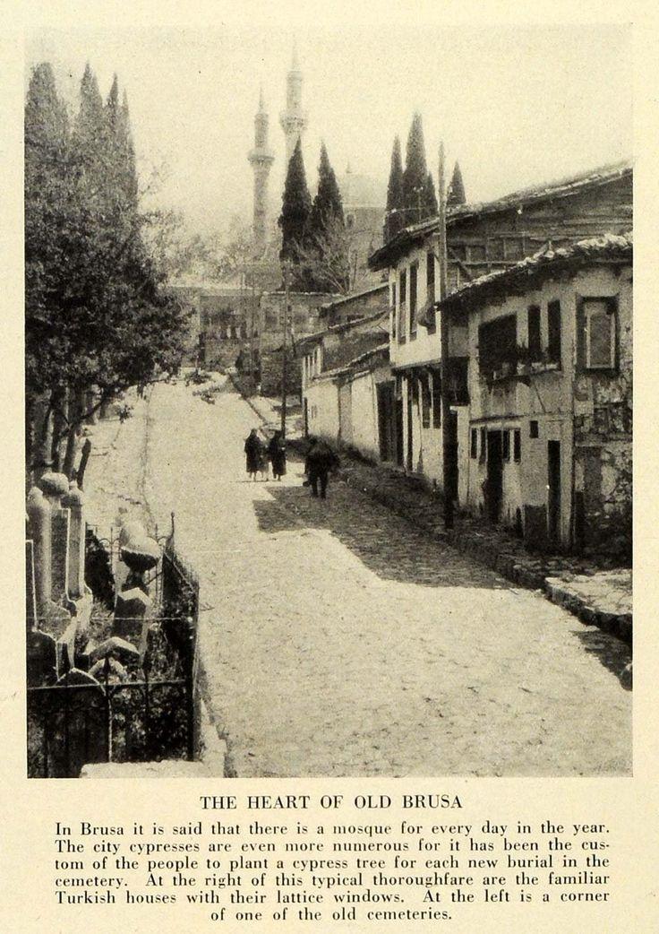 Amazon.com: 1933 Print Turkey Bursa City Street Cypress Trees Cemetery Old Houses Mosque - Original Halftone Print: Posters & Prints